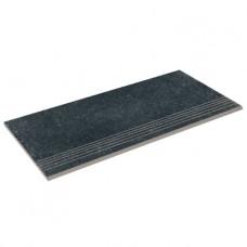 Бортовая прямая плитка Aquaviva Granito Black, 595x289x20 мм